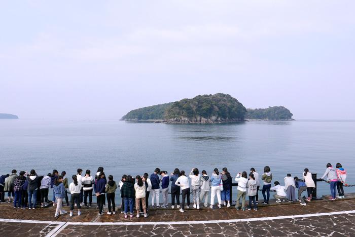 親水護岸から恋路島を眺める